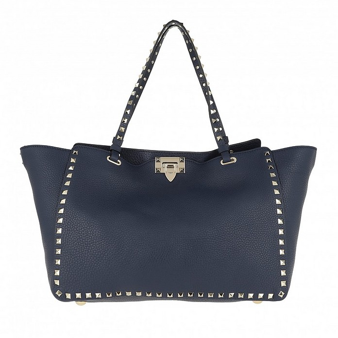Rockstud Shopper Medium Pure Blue - Valentino