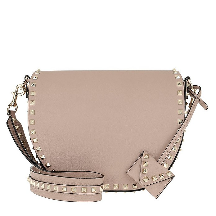 Rockstud Saddle Crossbody Bag Poudre - Valentino