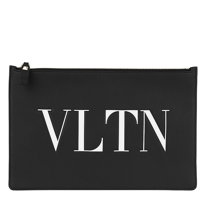 VLTN Pouchette Leather Black/White - Valentino Garavani