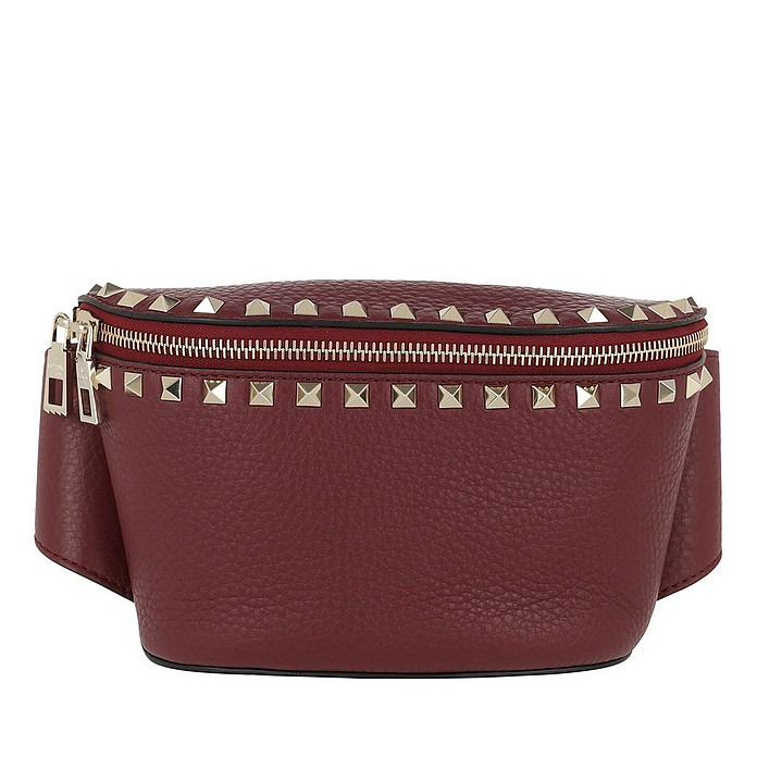 Rocksutd Belt Bag Calf Leather Maroon - Valentino