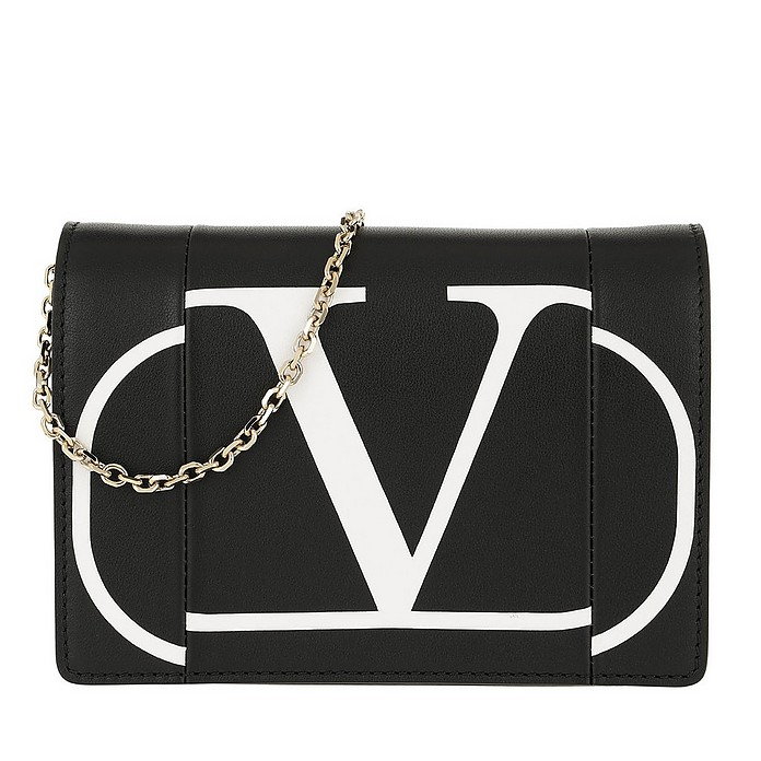 V Logo Print Chain Clutch Leather Black - Valentino