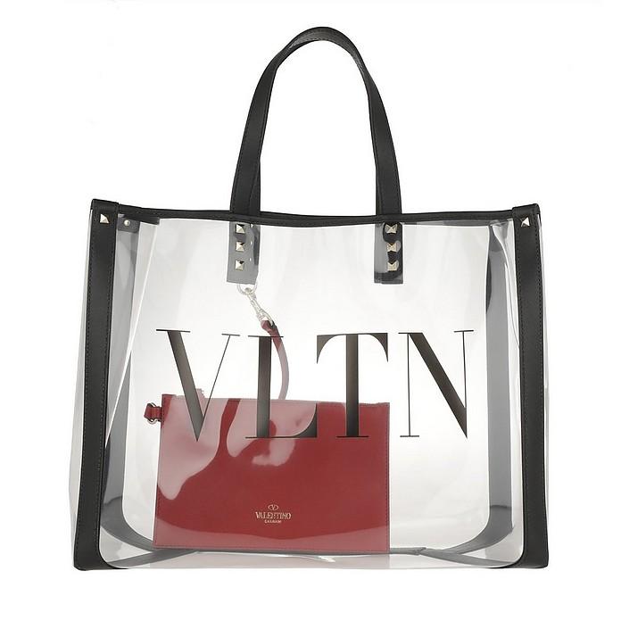 VLTN PVC Tote Transparente/Nero - Valentino