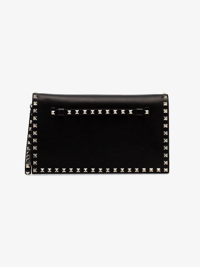 Valentino Clutch Black Rockstud Leather Clutch