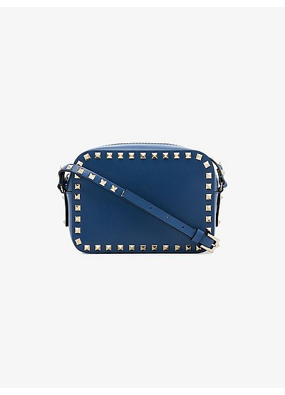 Blue Small Rockstud Leather Cross Body bag - Valentino