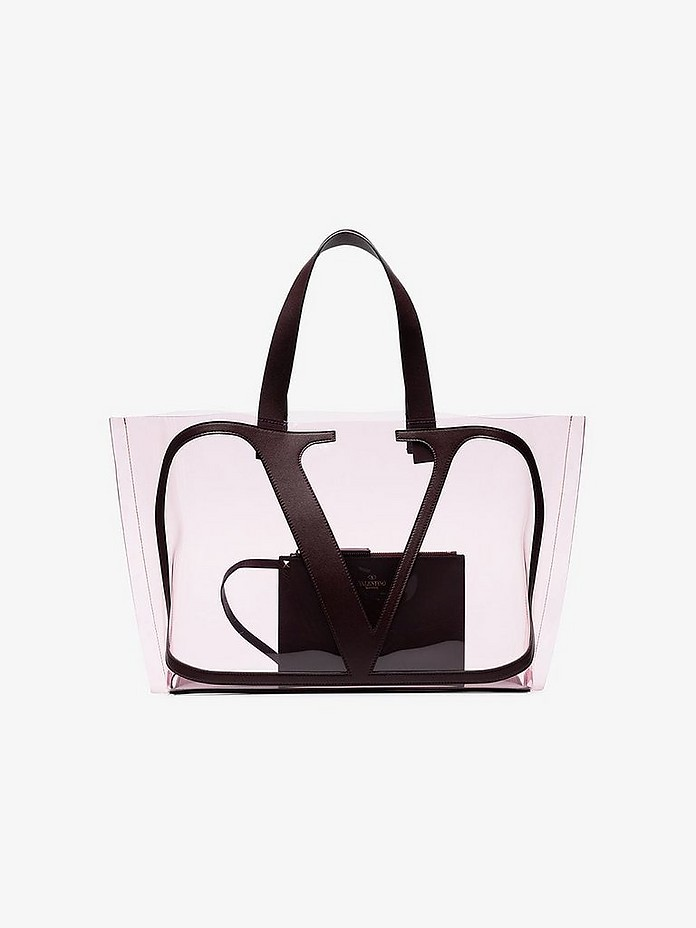 Valentino Totes Transparent Burgundy Vlogo Tote Bag