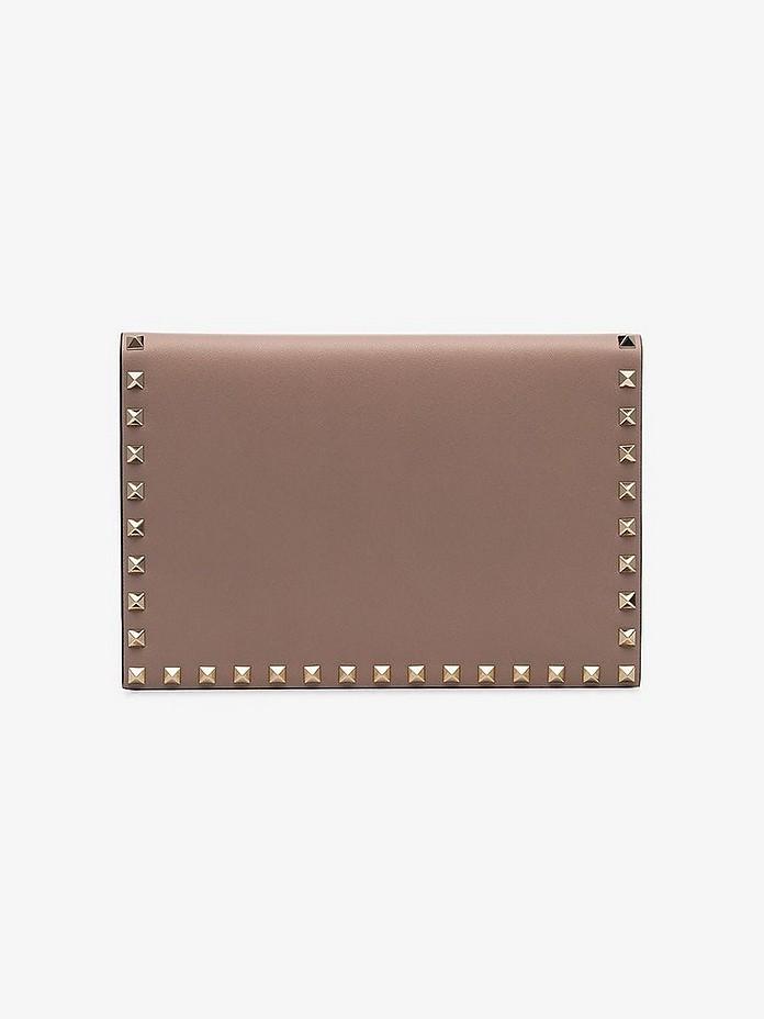 Pink garavani rockstud leather clutch bag - Valentino