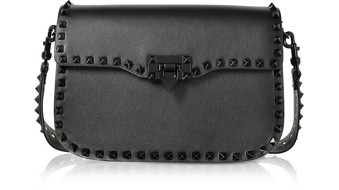 Black Rockstud Shoulder Strap Bag - Valentino