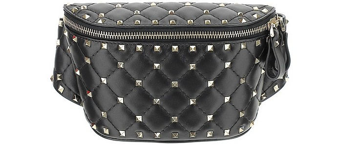 Black Rockstud Spike Belt Bag - Valentino