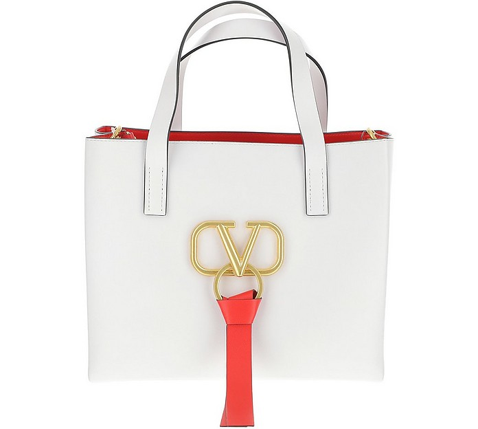 White VRing Leather Handbag - Valentino