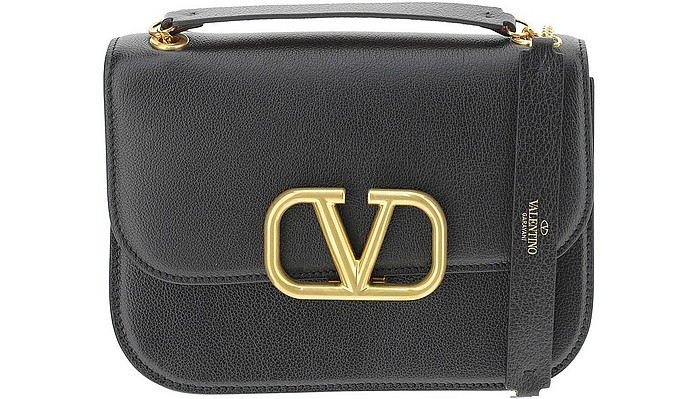 Black Leather Vlock Shoulder Bag - Valentino