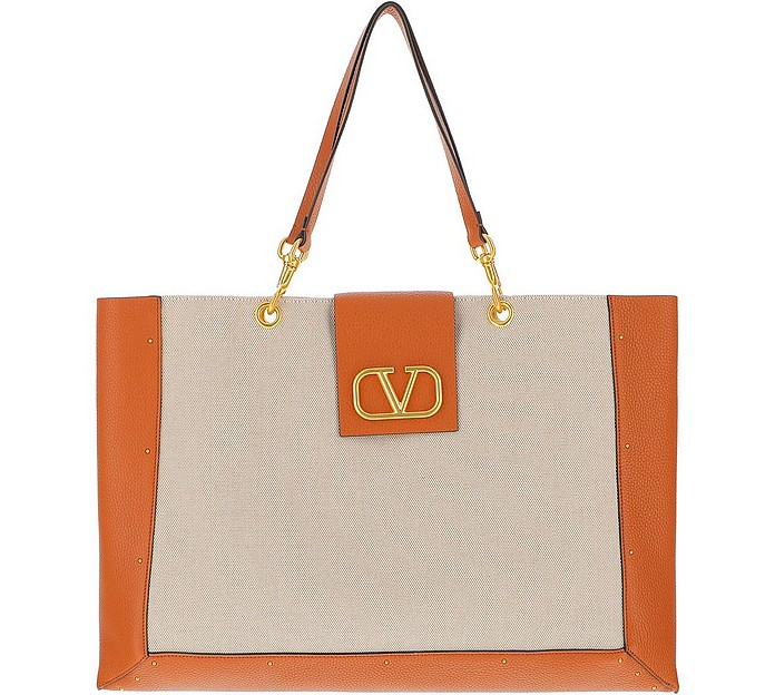 Vlogo Canvas & Leather Shopping Bag - Valentino