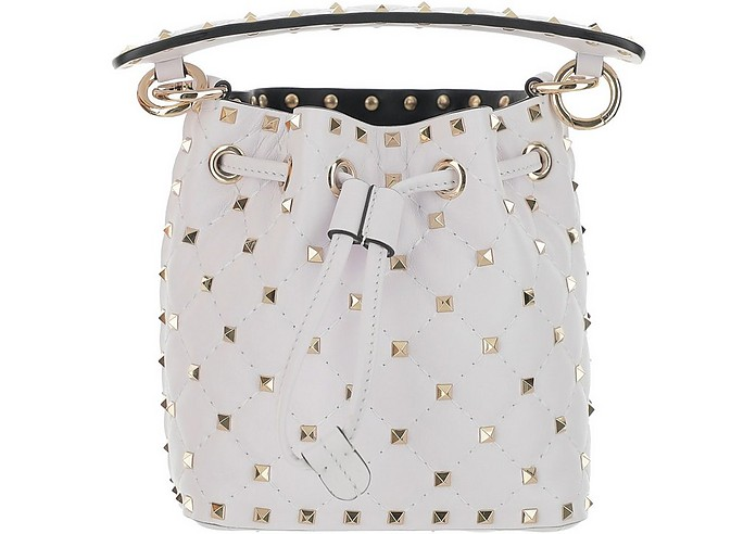 White Leather Mini Rockstud Bucket Bag - Valentino