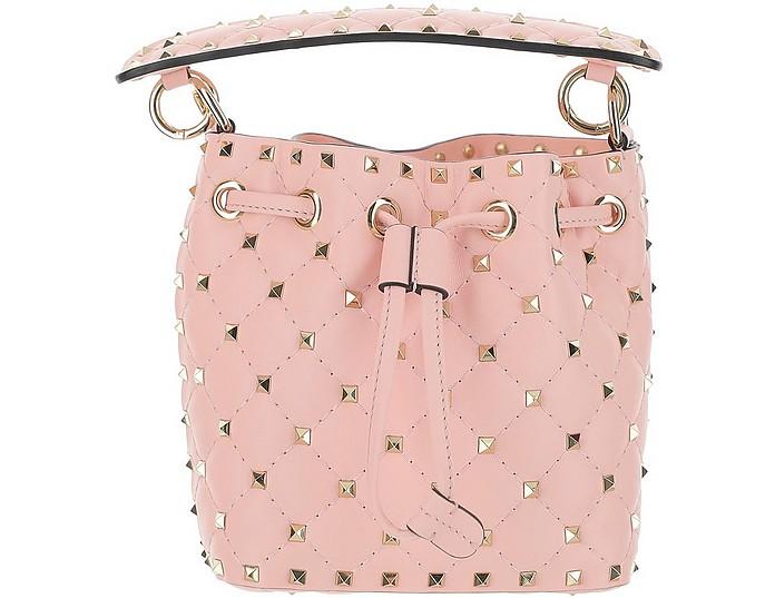 Pink Leather Mini Rockstud Bucket Bag - Valentino