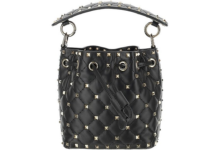 Black Leather Mini Rockstud Bucket Bag - Valentino