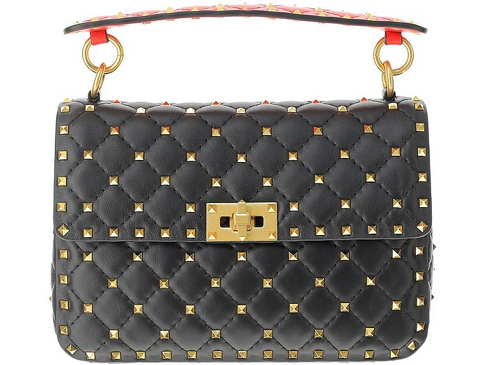 Black Leather Medium Rockstud Spike Shoulder Bag - Valentino