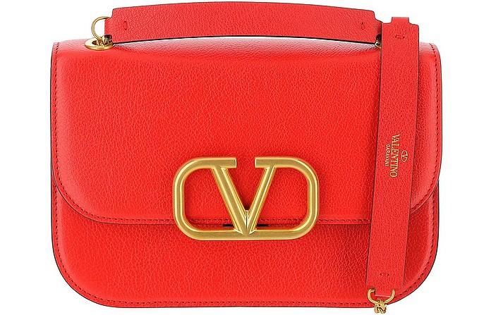 Red Leather Vlock Shoulder Bag - Valentino