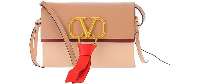 V-Ring Logo Leather Shoulder Bag - Valentino Garavani