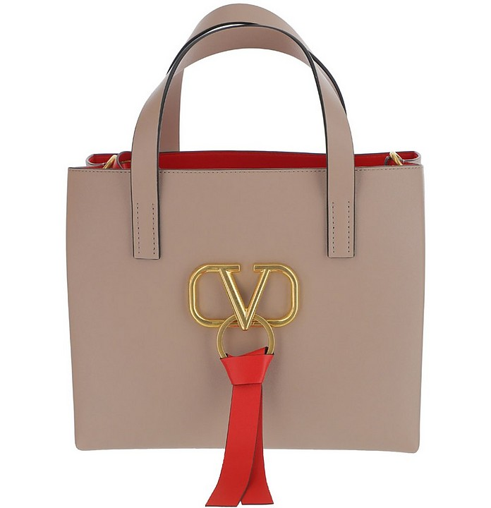 Pink Leather Vring Handbag - Valentino Garavani