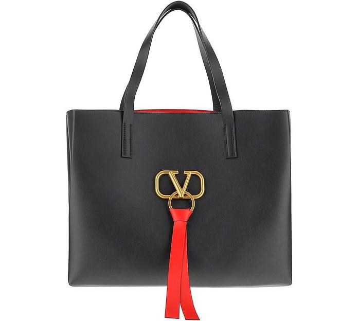 V-Ring Black Leather Tote Bag - Valentino