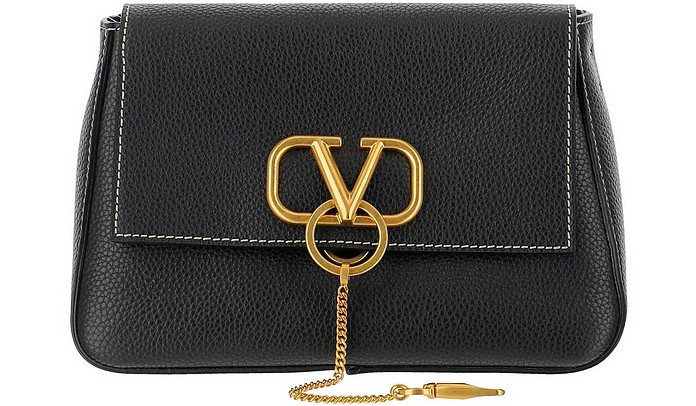 Black Leather VLogo Shoulder Bag - Valentino