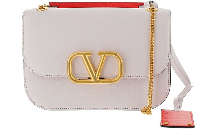 White VLock Logo Shoulder Bag - Valentino Garavani