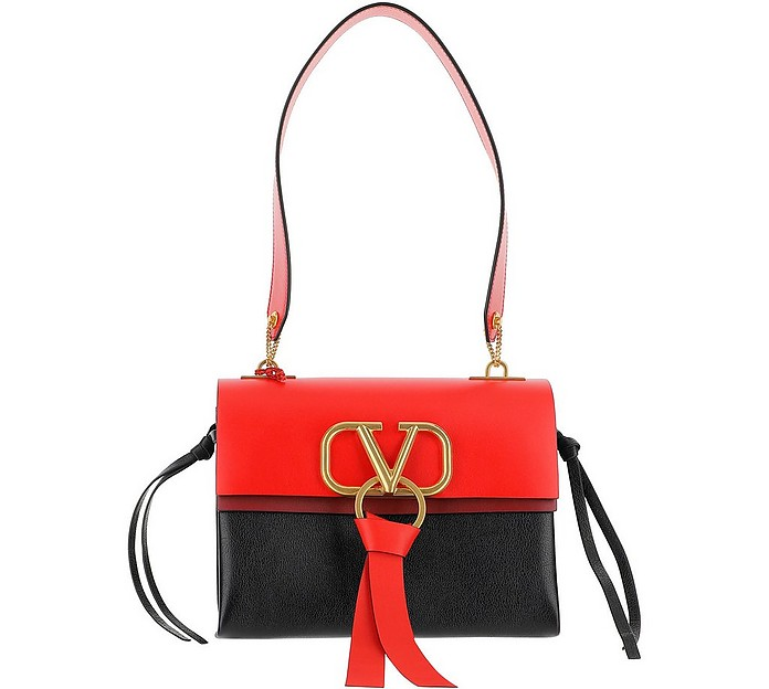 Black and Red VRing Shoulder Bag - Valentino Garavani