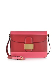 Rivet Deep Rose Colorblock Shoulder Bag