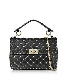 Black Quilted Leather Rockstud Spike Medium Shoulder Bag - Valentino