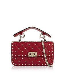 Red Quilted Leather Rockstud Spike Small Shoulder Bag - Valentino