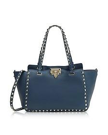 Rockstud Peacock Leather Satchel Bag - Valentino