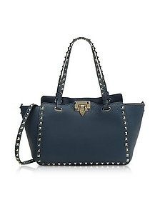 Rockstud Peacock Leather Satchel Bag - Valentino