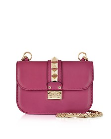 Camelia Leather Glam Lock Shoulder Bag  - Valentino Garavani
