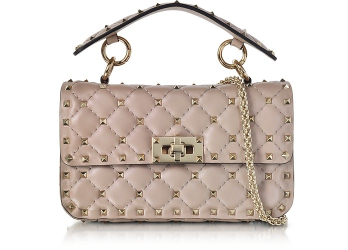 13439617102c Valentino Poudre Leather Free Rockstud Spike Shoulder Bag at FORZIERI