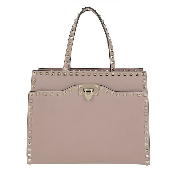 a4163ed17d38 Valentino Rockstud Top Handle Bag Medium Leather Poudre at FORZIERI