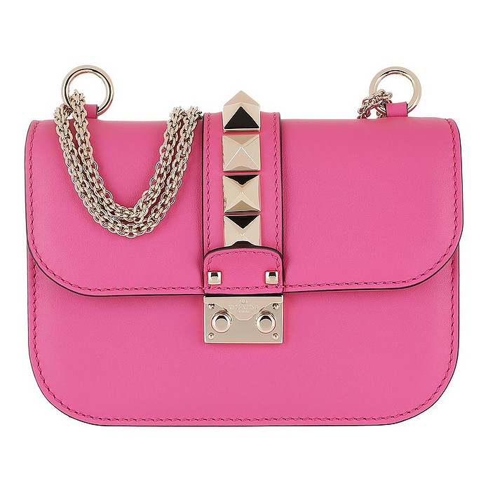 fe995063573 Valentino Rockstud Lock Small Leather Shoulder Bag Pink at FORZIERI