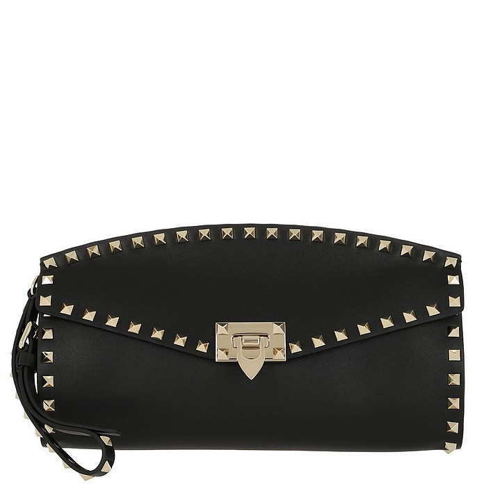 a24a0f72f1c5e Valentino Rockstud Clutch Bag Leather Black at FORZIERI