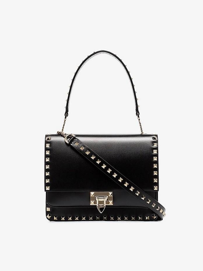 Black Garavani Rockstud leather shoulder bag - Valentino