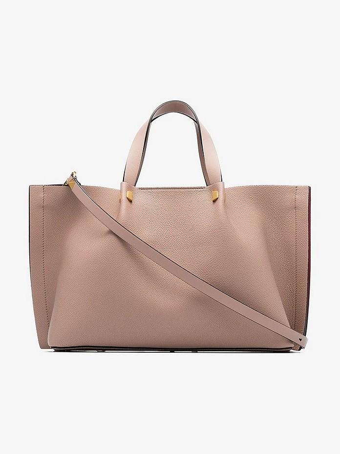 Pink Garavani Go logo Rockstud leather tote bag - Valentino