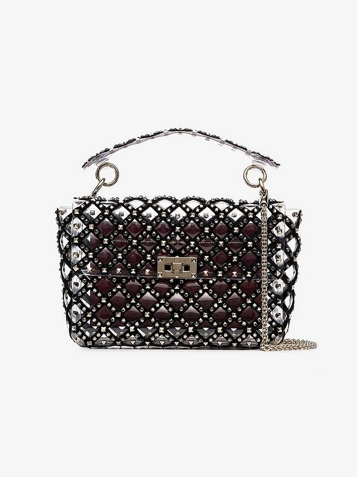 Valentino Shoulder Black and Transparent Garavani Rockstud Spike Shoulder Bag