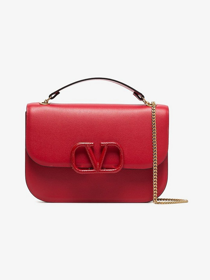 Red Garavani logo Plaque Small Leather Shoulder Bag - Valentino
