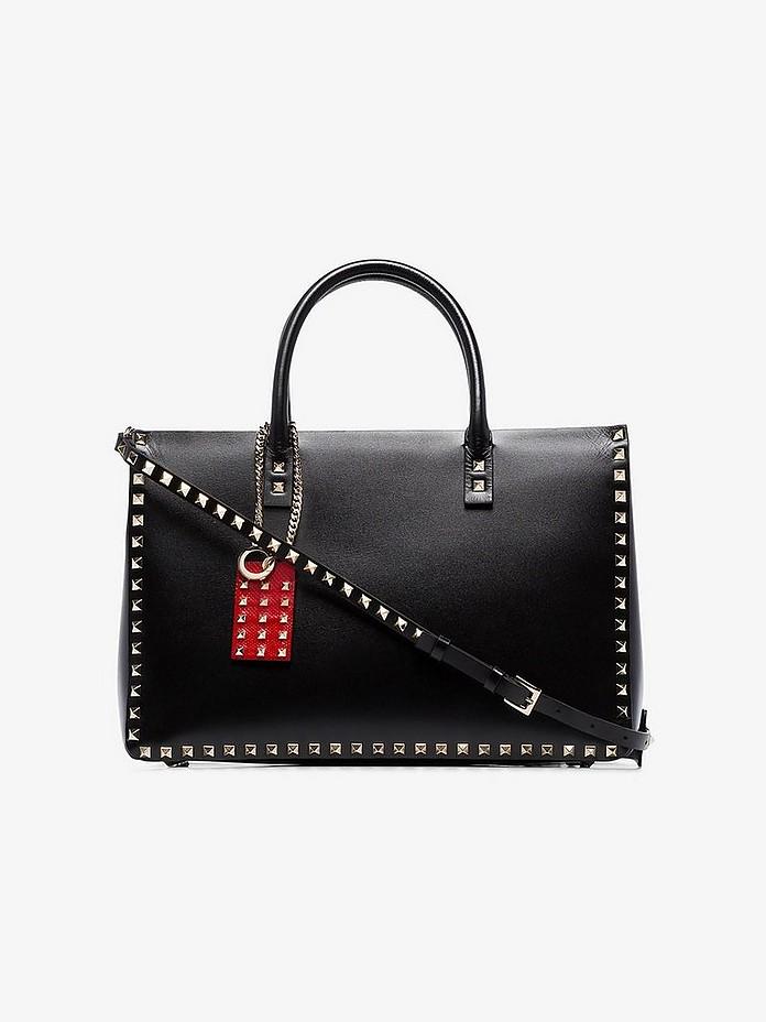 Black Garavani Rockstud large leather tote bag - Valentino