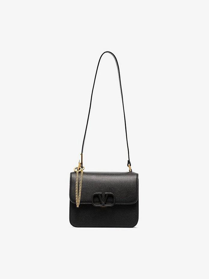 Valentino Shoulder Black Garavani VSLING Medium Leather Shoulder Bag