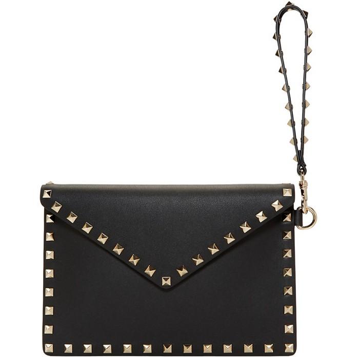 Black Valentino Garavani Medium Rockstud Envelope Pouch - Valentino