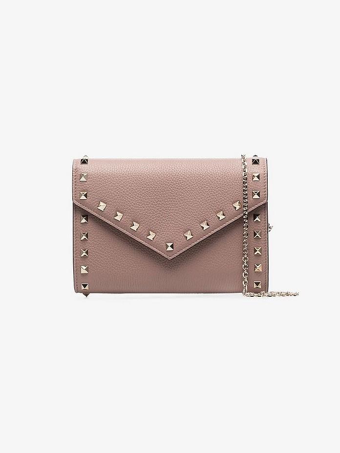 Neutral Garavani Rockstud Envelope leather clutch bag - Valentino