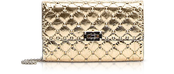 bff7353a7316 Valentino Gold Quilted Leather Rockstud Spike Chain Bag at FORZIERI ...