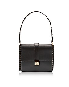 Black Leather Shoulder Bag w/Small Studs - Valentino
