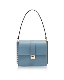 Slate Blue Leather Shoulder Bag w/Small Studs - Valentino