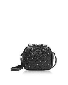 Black Quilted Leather Rockstud Spike Camera Bag - Valentino