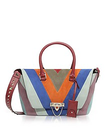 Striped Suede and Leather Demilune Small Double Handle Bag - Valentino