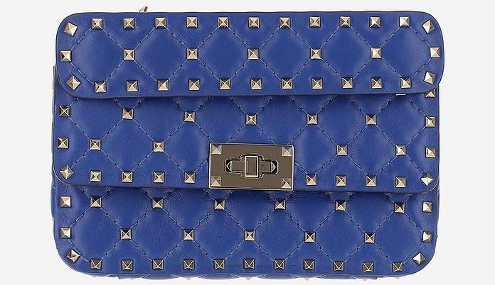 Blue Small Rockstud Spike Shoulder Bag - Valentino Garavani